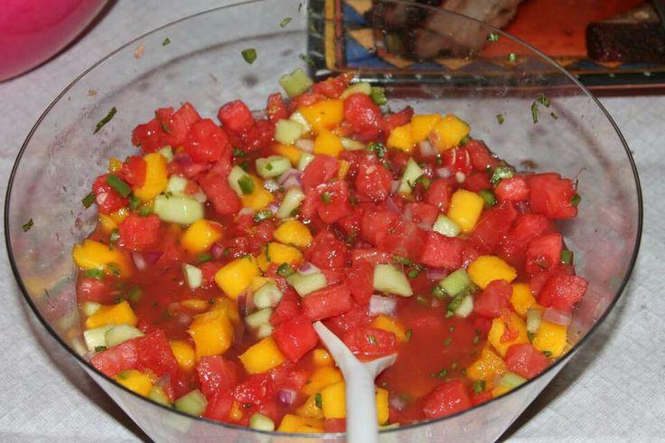 Salsa: Watermelon, Mango, Cucumber, Red Onion, Jalapeno, Lime ...