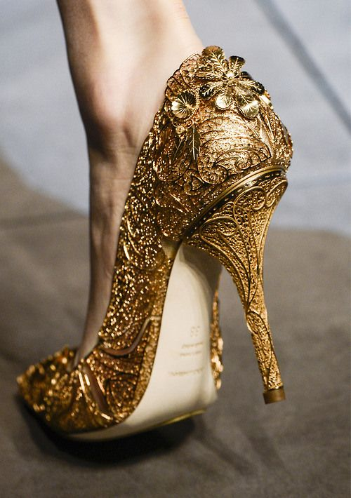 Gold Bold Shoes By Dolce & Gabbana