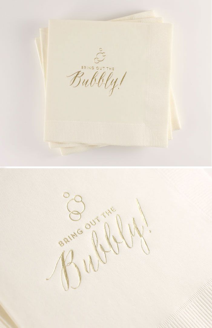 *BRAND NEW* 'Bubbly' Cocktail Napkins // Available in Blush, White or Ecru... or print to order in your own color combo // $18 for a box of 50
