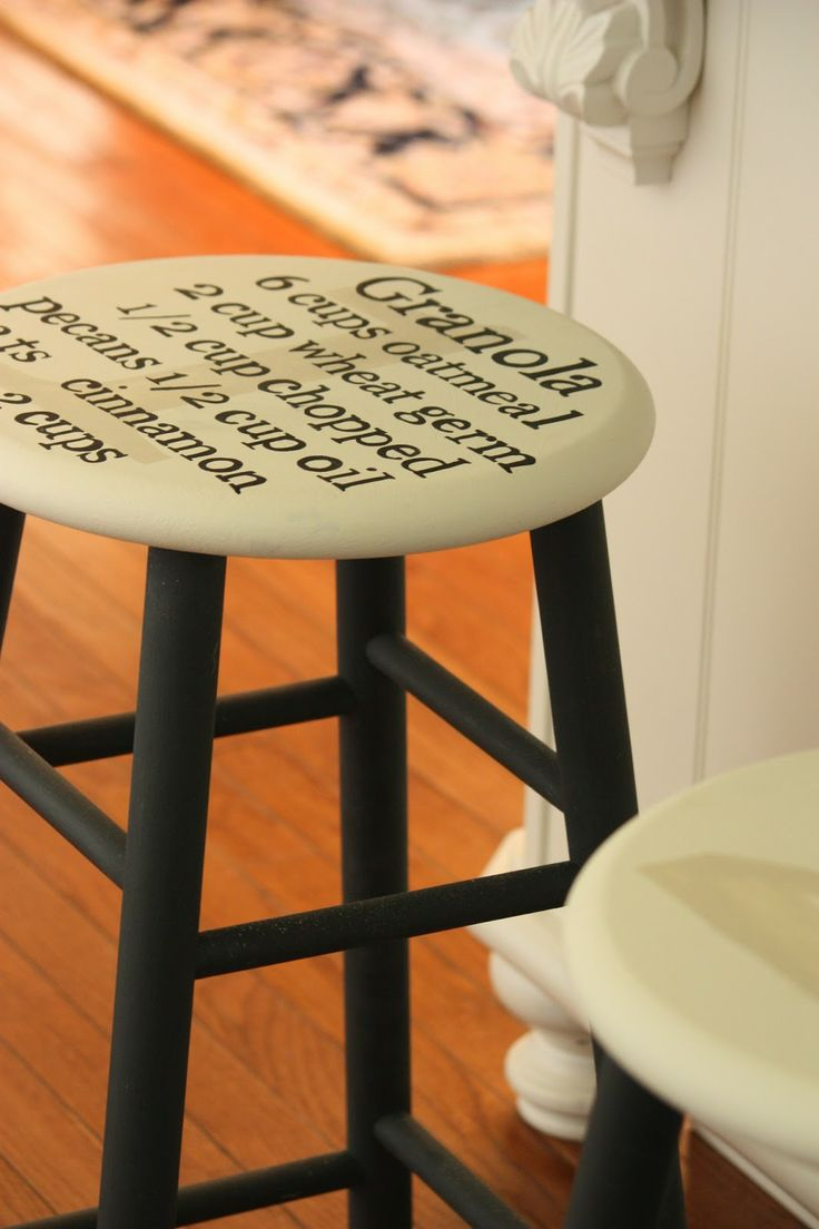 painting a recipe on a bar stool home sweet sweet home