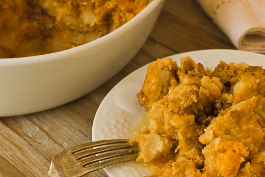 sweet potato bread pudding with pecan streusel and whiskey sauce ...