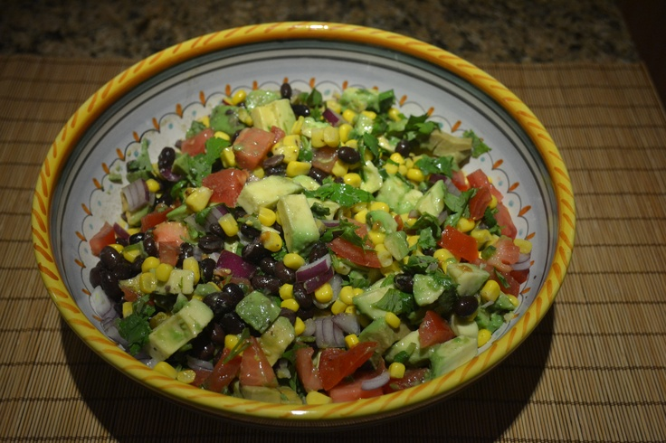 Texas Caviar salad Ingredients: Black beans, tomatoes, corn, avocado ...