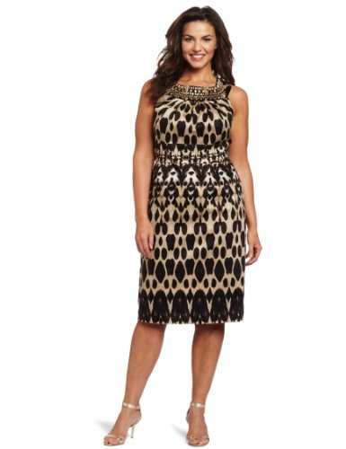 Plus size seamed sheath dress black dark khaki multi 20w dresses
