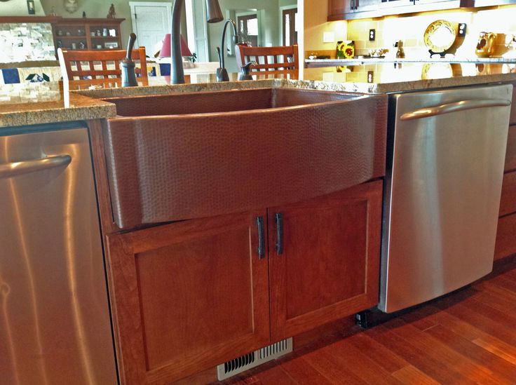 copper farmhouse kitchen sink looks nice with stainless appliances