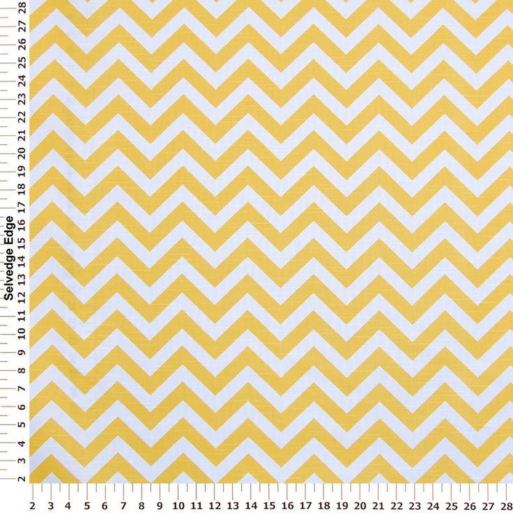 Contemporary - Corn Yellow Zig Zag Stripes on Cotton Fabric
