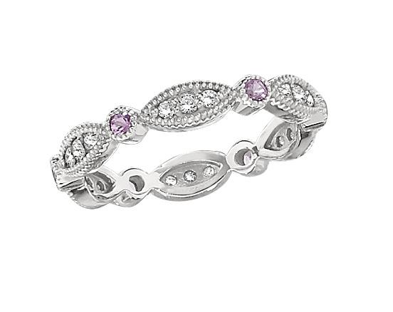 Sweet pink sapphire and diamond scalloped wedding band by lieberfarb