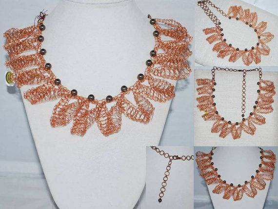 Crocheted Copper Wire Lace Necklace Crochet by MyasCreations, $120.00