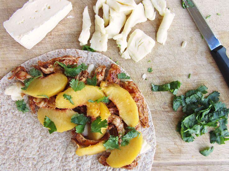 BBQ Chicken And Peach Quesadillas Recipe — Dishmaps