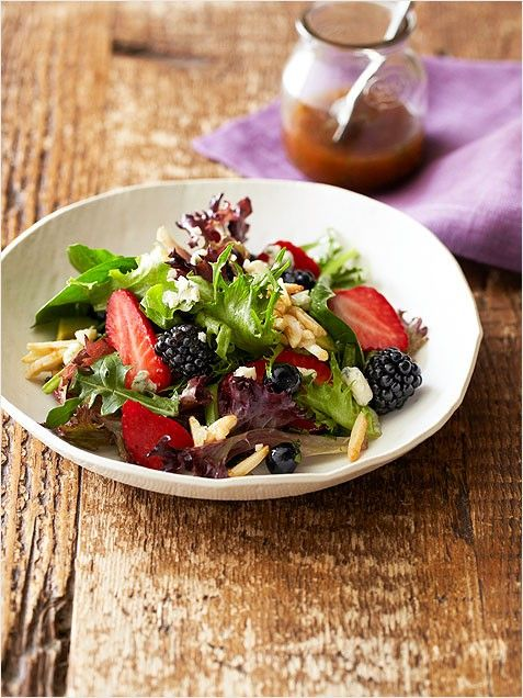 Triple Berry Salad with Sugared Almonds - summer salads sides barbecue ...