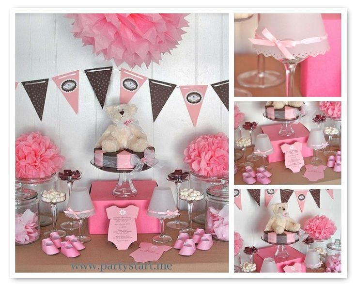 pink and brown bear themed baby shower baby shower pinterest