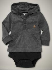 love the hoodie + onesie bottom