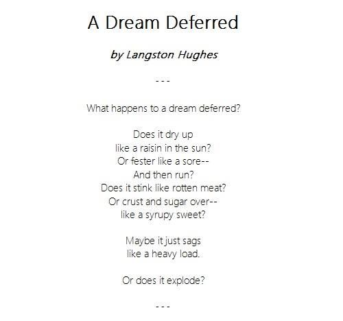 an analysis of the poem dream deferred by langston hughes Mulatto by langston hughes: poem & analysis  a dream deferred lesson plan harlem by langston hughes:  dreams by langston hughes: summary & analysis related study materials.