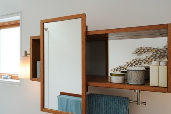 bathroom mirror storage towel rack design