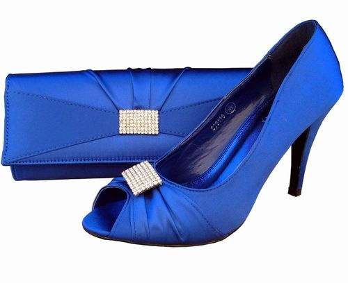 WeddingBridal Royal Blue Peep Toe Heel Shoe Matching Bag Set Evening ...
