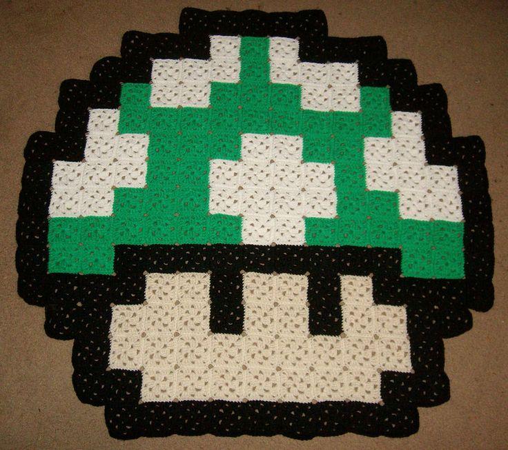 1UP Mushroom crochet rug.