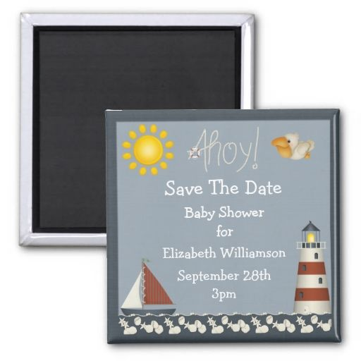 lighthouse and sailboat save the date baby shower magnets