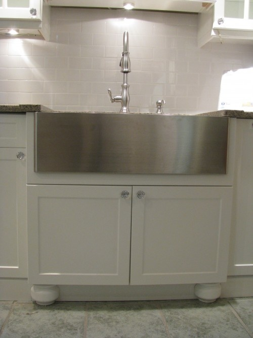 stainless farmhouse sink and high faucet Kitchens Pinterest