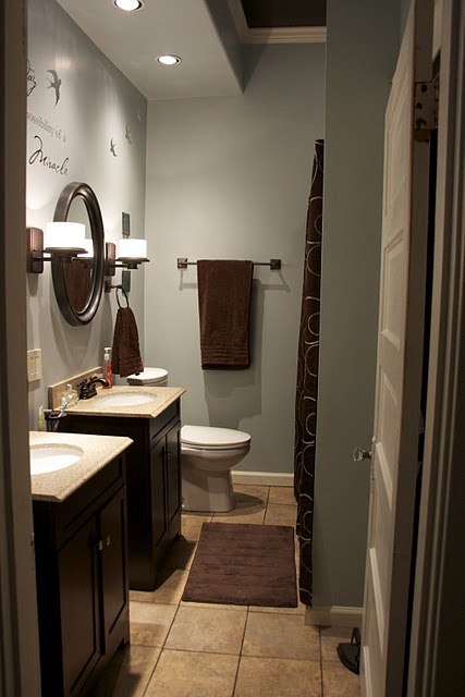 Pin by jordi tiffany on house ideas pinterest for Gray and brown bathroom ideas