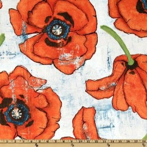 poppies! i'm thinking on the right over-stuffed chair?! (which i happen to have...)    44'' wide michael miller big poppy spice fabric by the yard $8.98