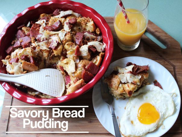 Breakfast Treat. Savory Bread Pudding with Parmesan, Rosemary and Spam ...