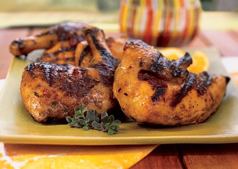 Bon Appetit Grilled chicken with tangerine, honey and chipotle glaze ...