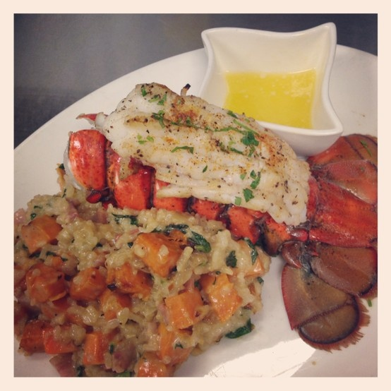 ... tail (7-8 oz) with roasted sweet potato, pancetta and spinach risotto