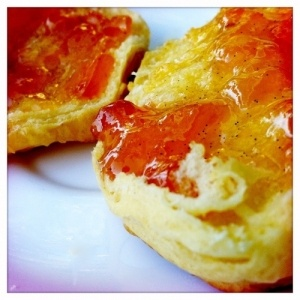 Peach Vanilla Bean Jam sounds yummy on home made biscuits