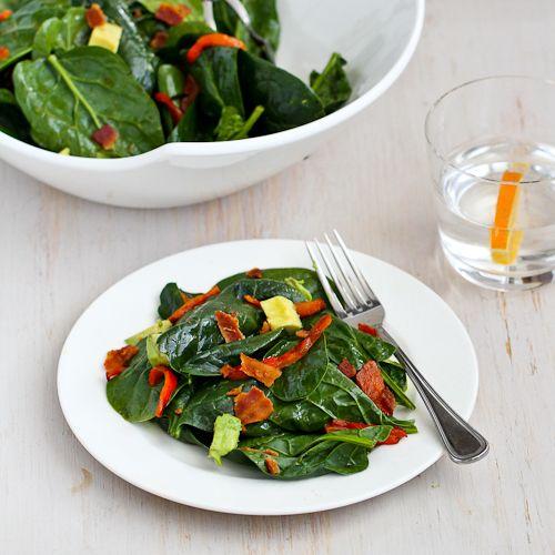 Bourbon Spinach Salad Recipe with Bacon & Avocado