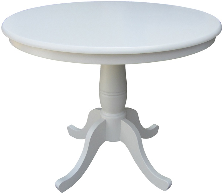 Linen White 36 Diameter Round Top Pedestal Dining Table