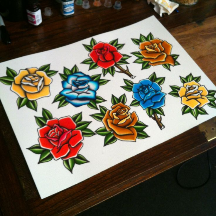 Rose Tattoo Flash  Old School Tattoos Pinterest