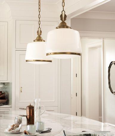 Brass schoolhouse pendants lighting pinterest for Brass kitchen light fixtures