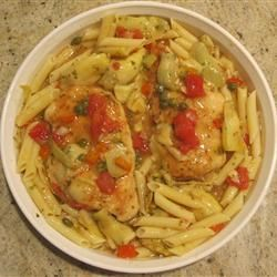 ... my Chicken Cutlet with Artichoke Hearts, Capers, Garlic Sauce creation