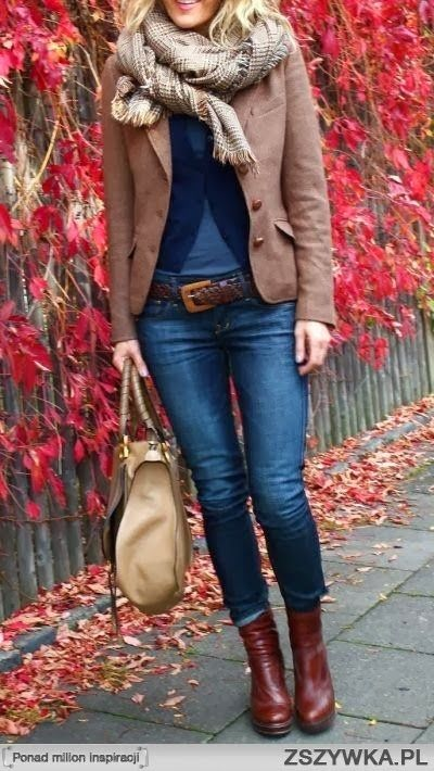 Coat cardigan long boots with denim pant