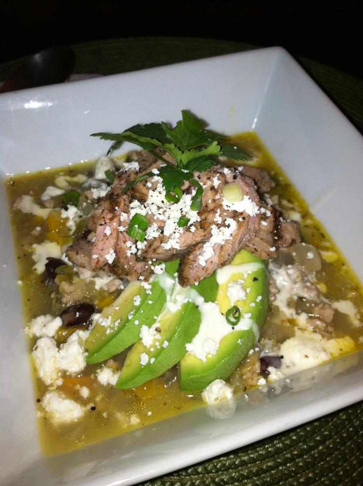Salsa verde pork chili. Topped with avocado, roasted pork tenderloin ...