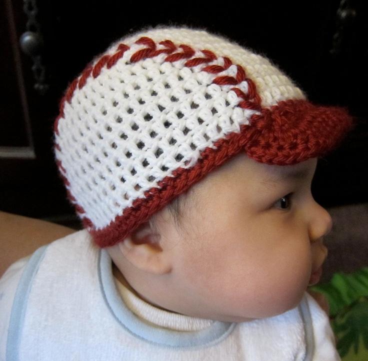 Free Crochet Pattern Baby Baseball Cap : Crochet-baby baseball hat