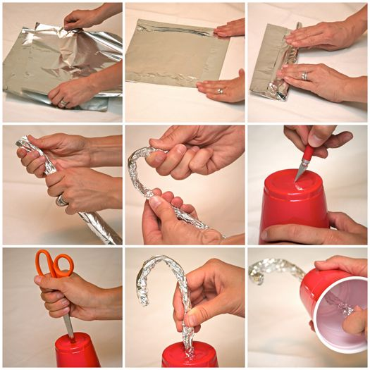 Pirate Party diy Hook To begin, stack three pieces of tin foil. Fold in the edges an inch or two (this takes care of any sharp foil and assists in holding the sheets together). Starting on an edge, roll the tin foil into a snake-like roll; squeeze tightly so it becomes creased and sturdy. Gently bend into a candy cane shape, creating a hook with extra length on the straight portion to form the handle. With the cup upside down, use a craft knife to slit an X.