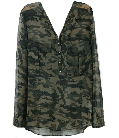 Sheer Camouflage Blouse 5