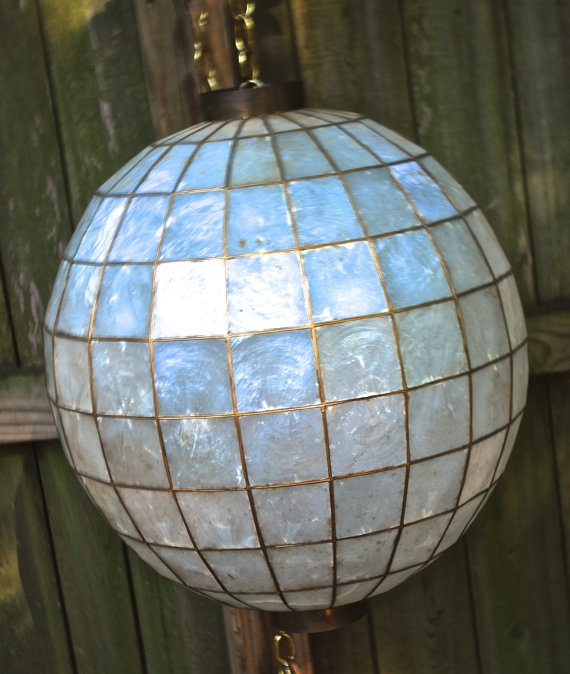 vintage capiz shell lantern 1960s mid century globe swag. Black Bedroom Furniture Sets. Home Design Ideas