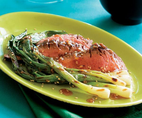 Grilled Flank Steak with Sesame Sauce & Grilled Scallions | Recipe