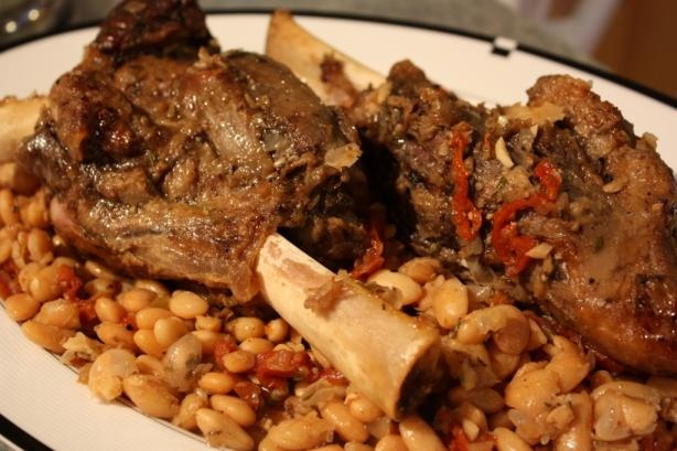 Lamb Shanks with white beans and sun-dried tomatoes