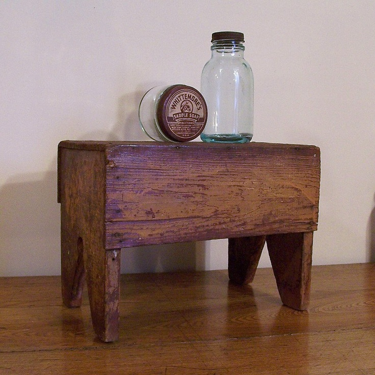Antique Step Stool Wooden Bench Primitive Paint Old Nails Farmhouse Collectible