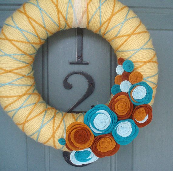 Yarn+Wreath+Felt+Handmade+Door+Decoration+++Crossing+by+ItzFitz,+$45.00