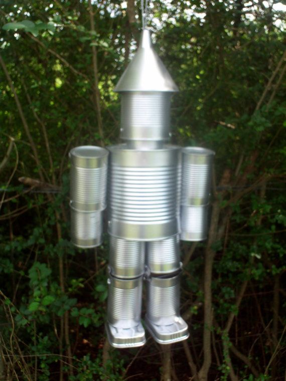 Hand crafted original tin can man the wizard of oz for Tin man out of cans