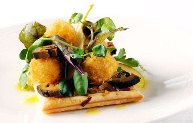 Chicory tart with walnut and pear salad and deep fried blue cheese ...