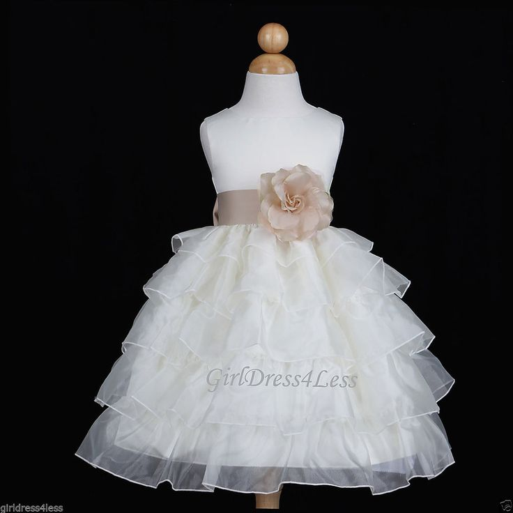Ivory Champagne Bridesmaids Wedding Party Flower Girl Dress 12m 18m 2