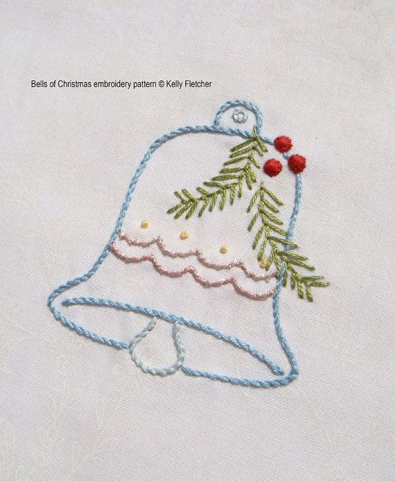 Bells of christmas hand embroidery pattern