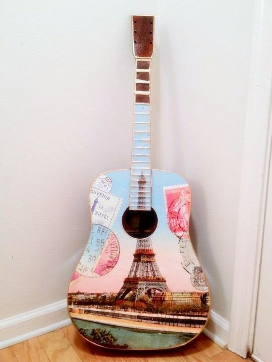Paris Themed Acoustic Wall Guitar 2 Eiffel Tower By EmmasGuitars 274