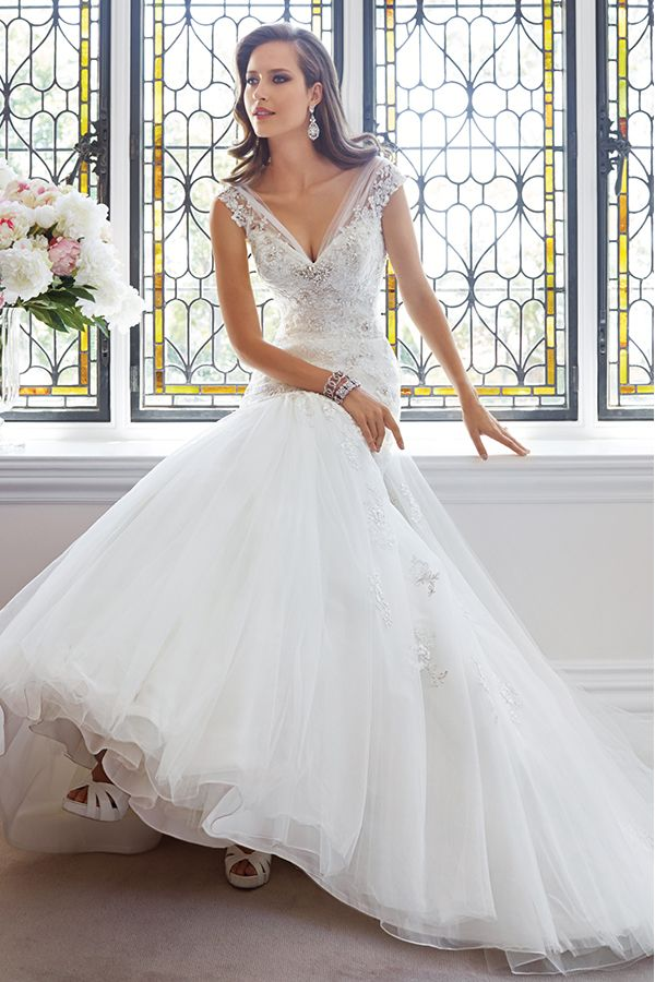 2014 V Neck Wedding Dress Mermaid/Trumpet With Beaded Applique Tulle Chapel Train BRL 722.82 BFP537KKER - BlackFridayDresses.com