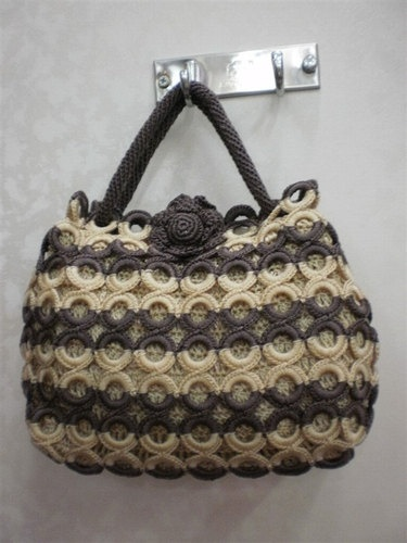 Handmade Crochet Knit Circle design bag Hobo women