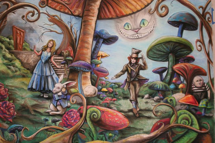 alice in wonderland mural that i helped draw finished